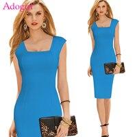 Adogirl Plus Size Women Office Dress Elegant Square Collar Cap Sleeve Midi Pencil Dress Ladies Work