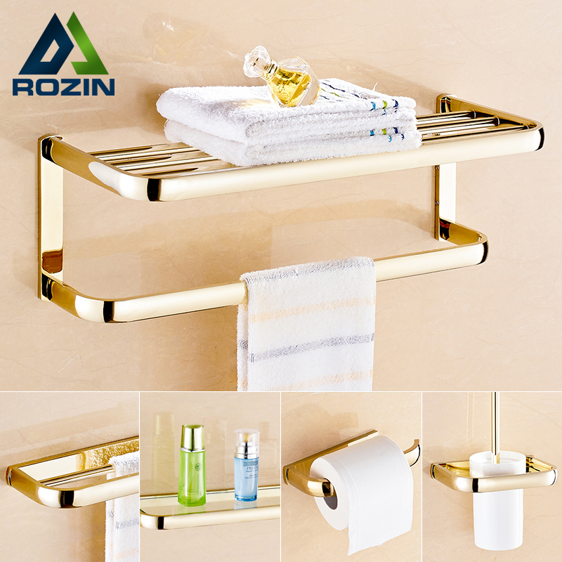 Luxury Golden Bathroom Towel Bar Bath Shelfs Wall Mounted Brass Paper Holder Toilet Brush Rack Bath Hardware Sets oil rubbed bronze square toilet paper holder wall mounted paper basket holder