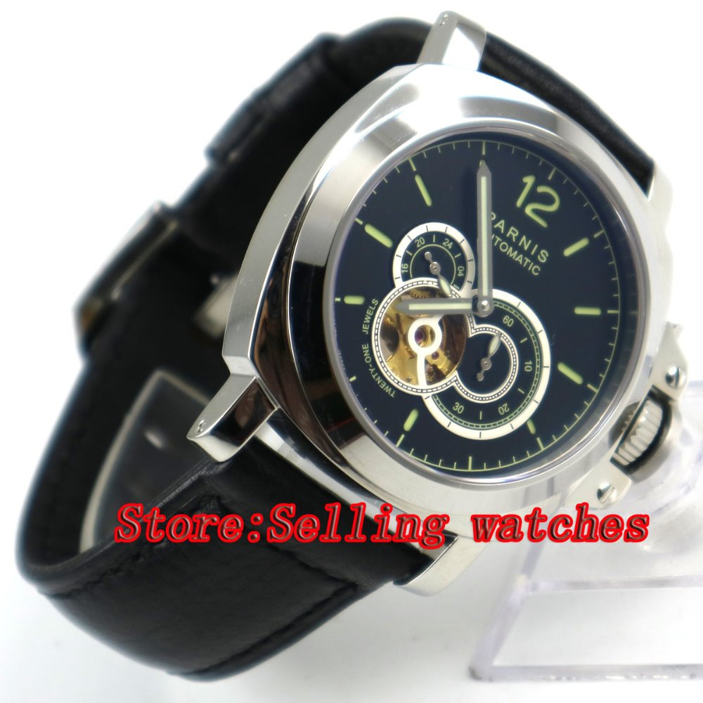 44mm Parnis Black Dial Green Marks Stainless Steel Sapphire MIYOTA Automatic Movement Men's Watch