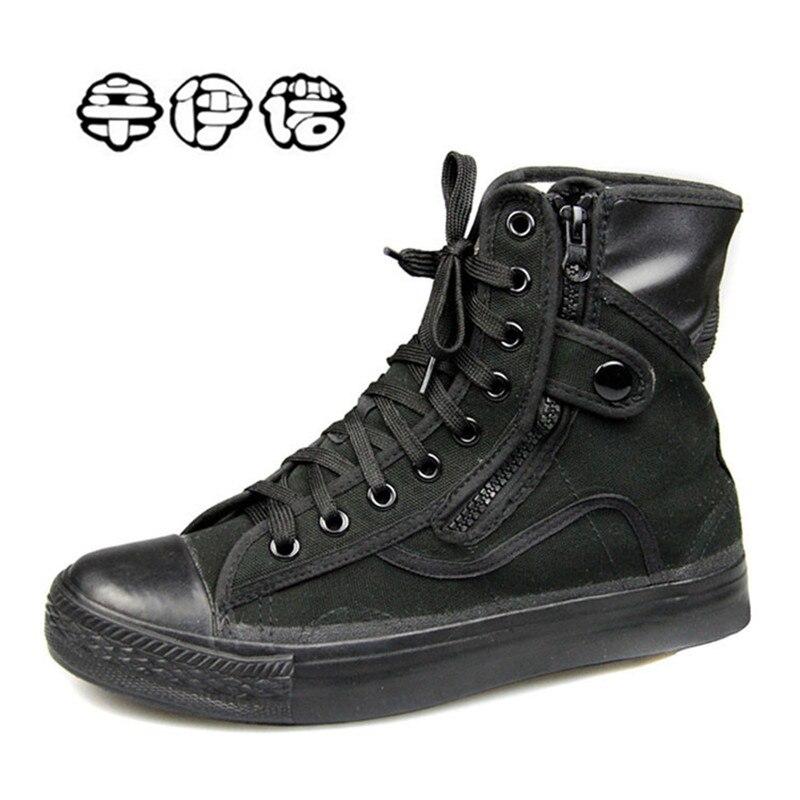 All Black Canvas Shoes Outdoor Men's Combat Boots Work&Safety Shoes Lace Up Ankle Botas Men Motorcycle Boots Plus Size 36--46 plus size 36 46 genuine leather women ankle boots hiking shoes women work safety shoes