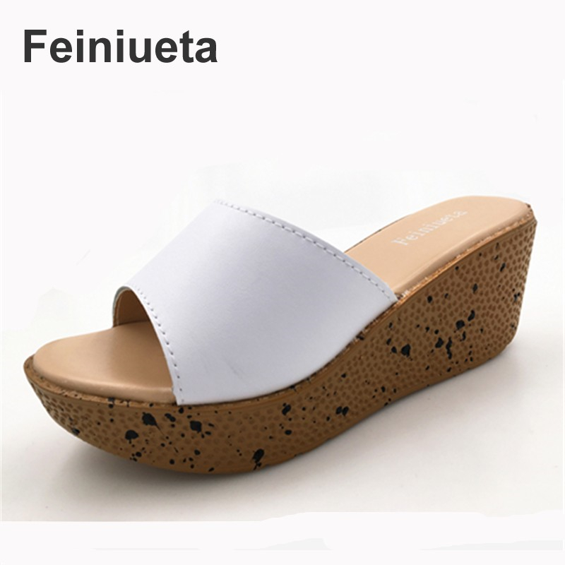 Feiniueta 2017 new summer word flip sandals shoes leather puff pastry outdoor slope with fashion cool slippers female platform