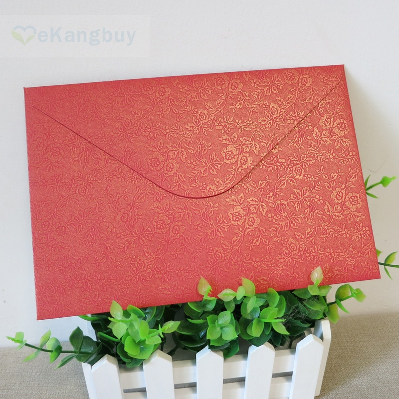 6x9 Wedding Invitation Envelopes: 50pcs Floral Red Envelope Wedding Invitation Envelopes-in
