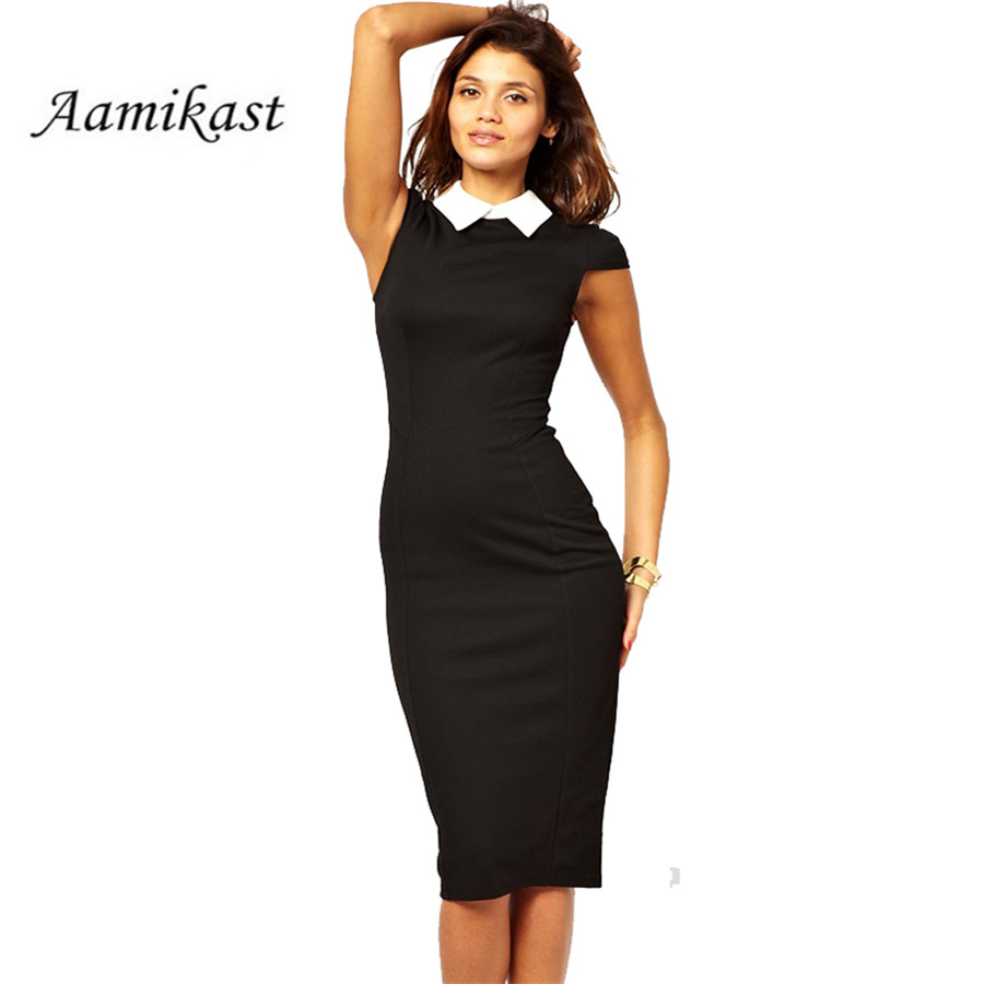 Career Women Summer Turn-down Collar Fit Work Dress Vintage Elegant Business office Pencil bodycon Midi Dresses ...
