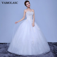 VAMOLASC Sequined Strapless Ball Gown Lace Appliques Wedding Dresses Crystal Off The Shoulder Backless Bridal Gowns lasonce lace appliques ball gown wedding dresses crystal strapless off the shoulder sequined backless bridal gowns