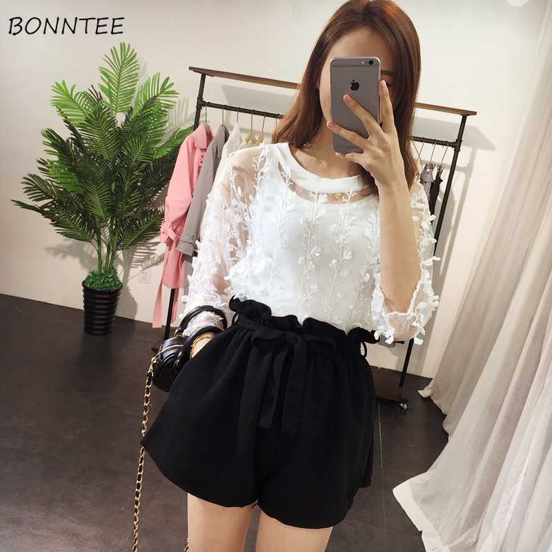 Shorts Women Loose Sashes Pockets All-match Black Trendy Womens Drawstring Summer Breathable Female High Waist Solid Colour Chic