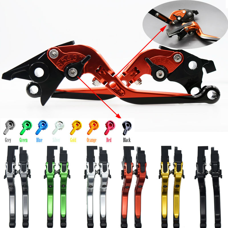 ФОТО For Kawasaki ZX636R / ZX6RR 2005-2006 Adjustable CNC Blade Brake Clutch Levers Folding Extendable