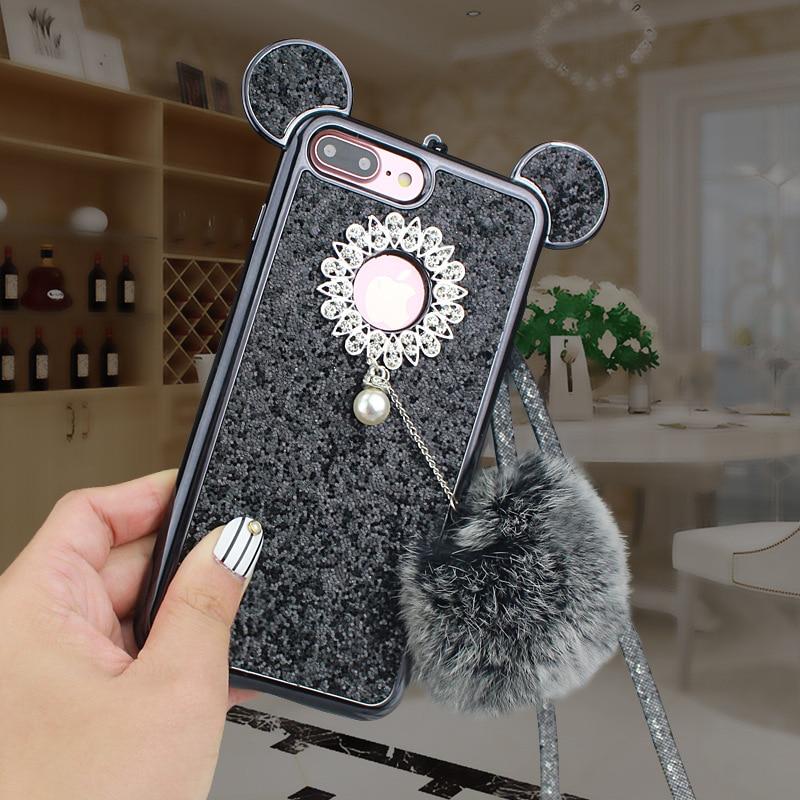 YESPURE Fancy Bling Glitter Cihazı IPhone 6 6s 7 8 plus Celular Fur - Cib telefonu aksesuarları və hissələri - Fotoqrafiya 2