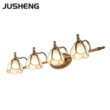 American style LED bathroom vanity mirror light headlight retro copper lamp cabinet light make up light E14 цены онлайн