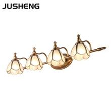 American style LED bathroom vanity mirror light headlight retro copper lamp cabinet make up E14
