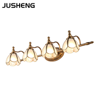 American style LED bathroom vanity mirror light headlight retro copper lamp cabinet light make up light E14