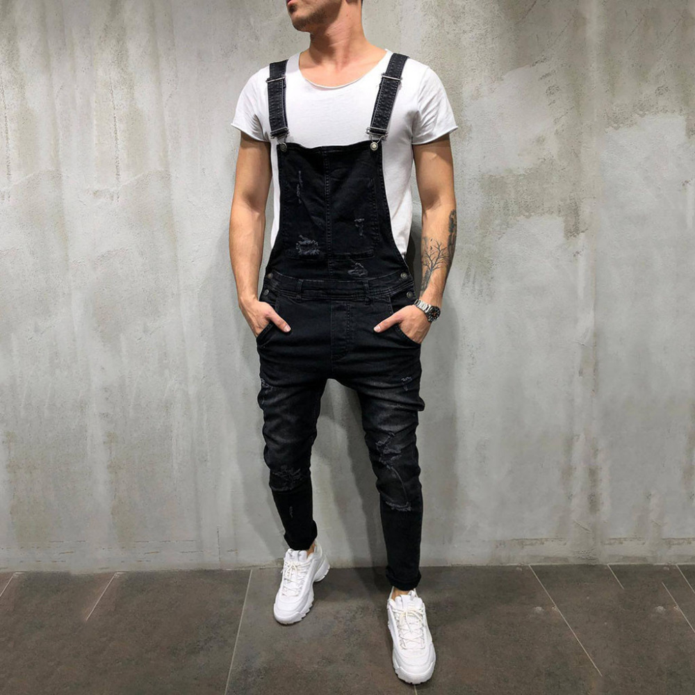 Men's Overall Casual Jumpsuit Jeans Wash Broken Pocket Trousers Suspender Pants  C0304