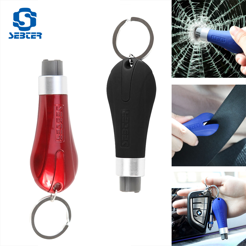 SEBTER Emergency Kit Mini Safety Hammer Key Ring Car Window Glass Breaker Seat Belt Cutter Rescue Hammer Car Escape Tool 2 in 1 car safety hammer seat belt cutter emergency hammer bracket