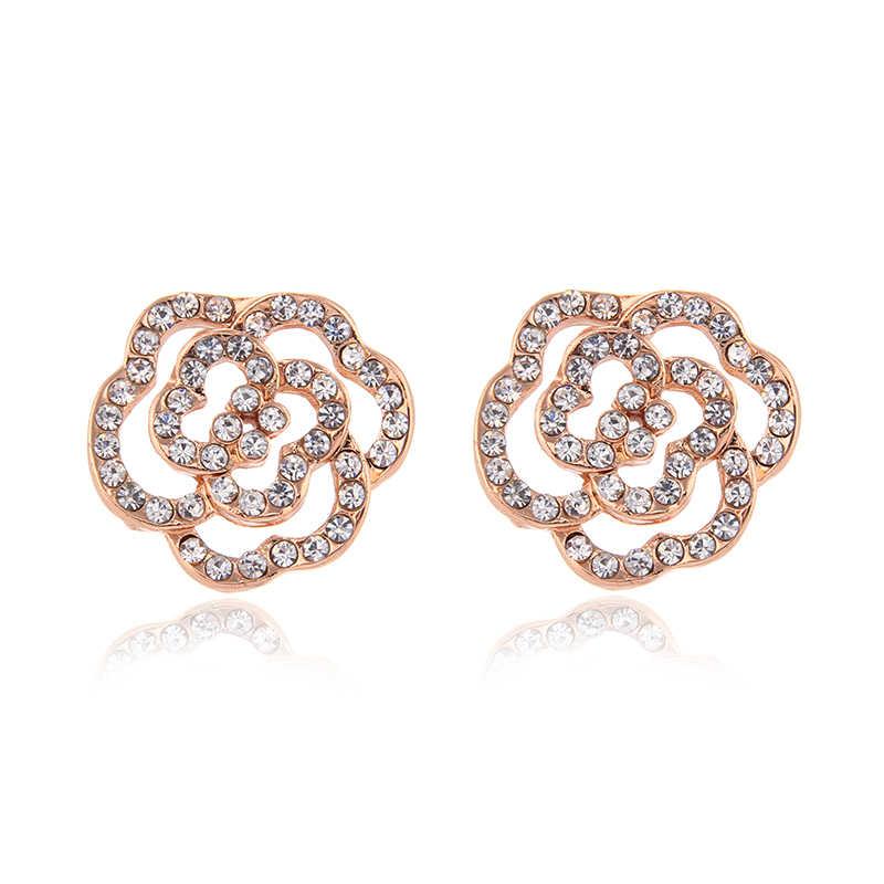 Wyprzedaż zestawy biżuterii dla kobiet Party Trendy zestawy biżuterii kwiat kształt srebrny różowe złoto pozłacane wisiorki i naszyjniki