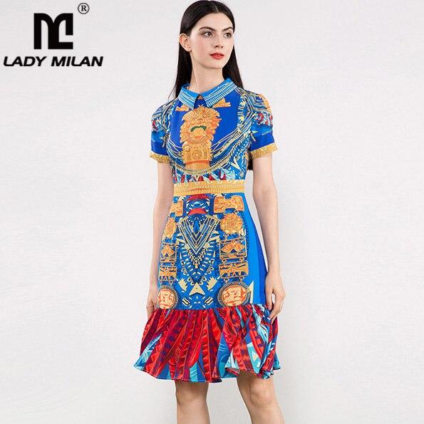 New Arrival 2018 Womens Turn Down Collar Short Sleeves Printed Ruffles High Street Casual Fashion Designer Runway Dresses