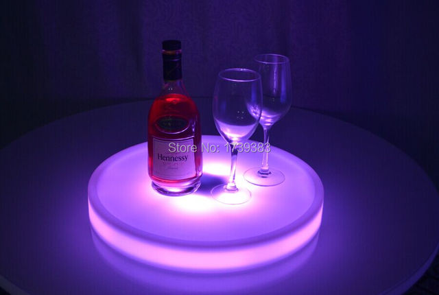 Free Ship Waterproof LED Light Up Cocktail Tray Multi Colors Rechargeable luminous LED Snack Servicing tray light remote control