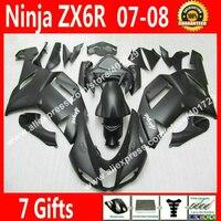 Gratis custom Fairings voor 2007 2008 carrosserie Kawasaki ZX6R Ninja 636 kuip kits 07 08 nieuwe zwart carrosserie DK98