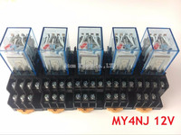 5PCS MY4NJ DC AC 12V Coil 5A 4NO 4NC Green LED Indicator Power Relay DIN Rail