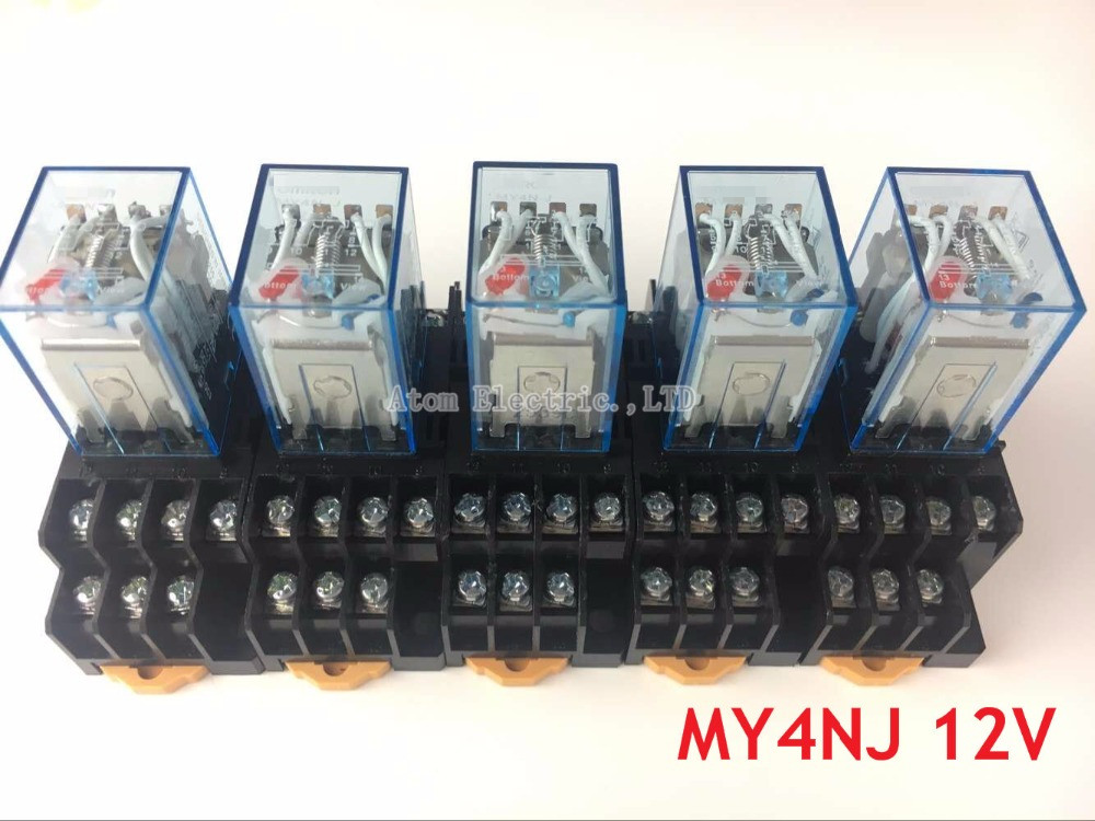 5PCS MY4NJ DC AC 12V Coil 5A 4NO 4NC Green LED Indicator Power Relay DIN Rail 14 Pin time relay with socket base ac dc no bull