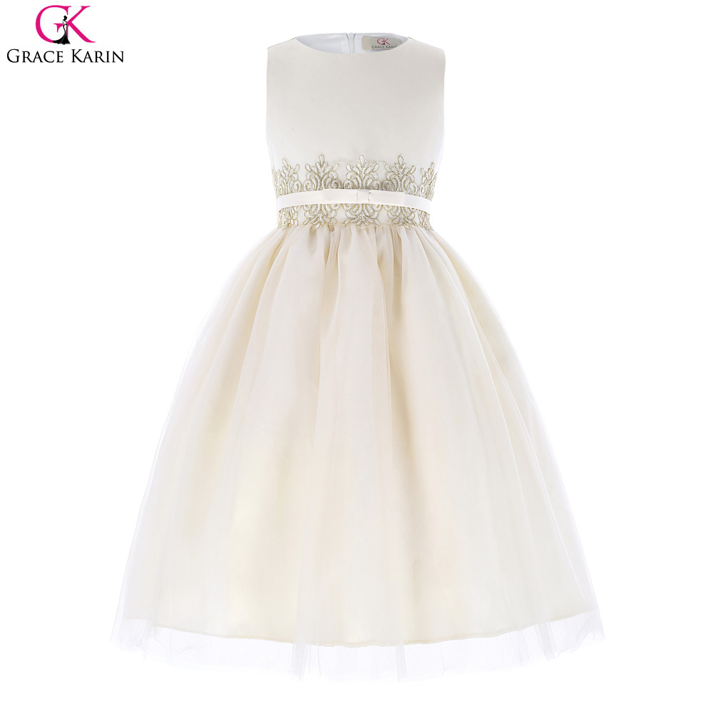 2017 Vestidos Cheap Round Neck A Line Girl's Pageant Gowns Pretty Light Champagne Lace Applique Ankle Length Flower Girl Dresses