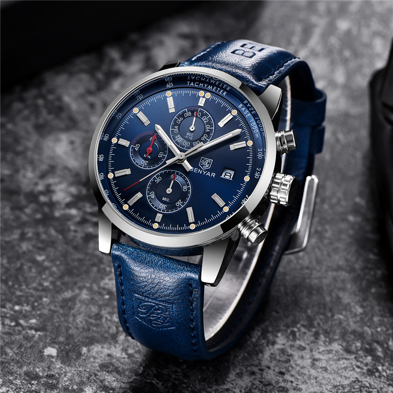 Image 2 - BENYAR Men's Watches Luxury Top Brand Quartz Chronograph Watch Fashion Sports Automatic Date Leather Men Clock Relogio Masculino-in Quartz Watches from Watches