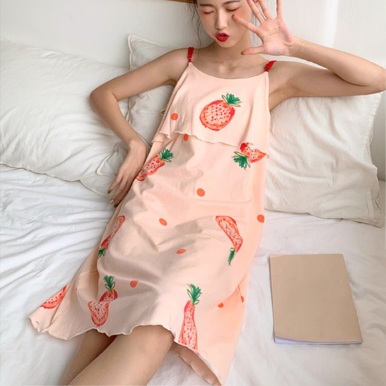 2019 New Arrival Summer Sexy Sleeveless Ladies Sleepwear Female Spaghetti Strap Floral Print Midi   Nightgowns