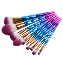 Popfeel 10 pcs Berlian Bentuk Makeup Brushes Set Yayasan Powder Blush Eye Shadow Lip Brush Kecantikan Kosmetik Alat Kit