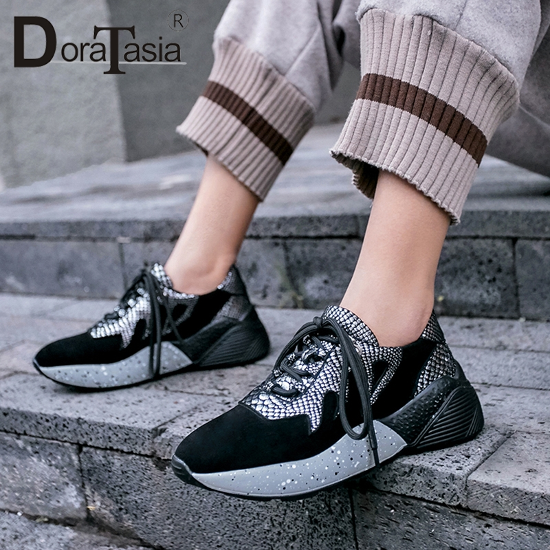 DoraTasia 2019 New Genuine   Leather     Suede   Casual Sneakers Snake Pattens Lace Up Mixed Color Comfortable Leisure Shoes Woman