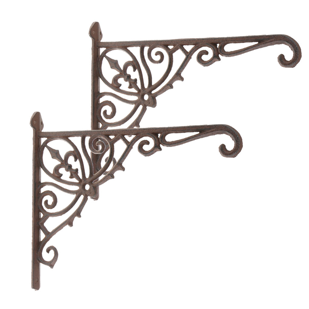 A Pair Antique Style Cast Iron Brackets Garden Braces Rustic Shelf Bracket Brown Gardening Supplies Home Products Supplies Punctual Timing Garden Buildings