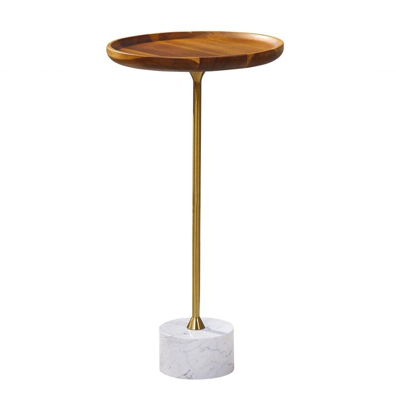 Deluxe Eiche Holz Tablett Ende Tisch Wohnzimmer Möbel Marmor Basis Runde Seite Tisch Kleine Kaffee Tisch Knitterfestigkeit