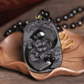 Drop Shipping Fine carving Obsidian two fish and lotus  black jade pendant men's jewelry jade jewelry