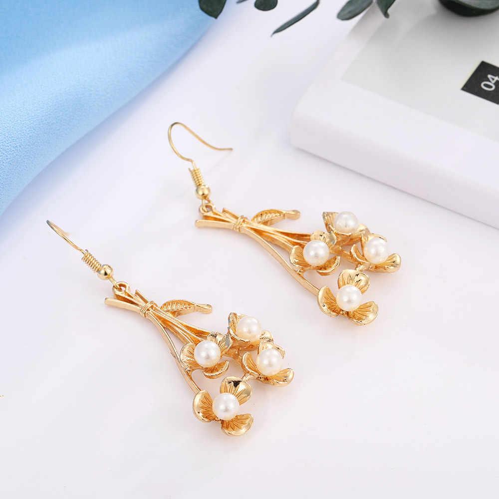 Gorąca sprzedaż nowe europejskie i amerykańskie długie kolczyki moda gałęzie kwiaty kolczyki damskie koreański perłowy kolczyki Mujer # ZC