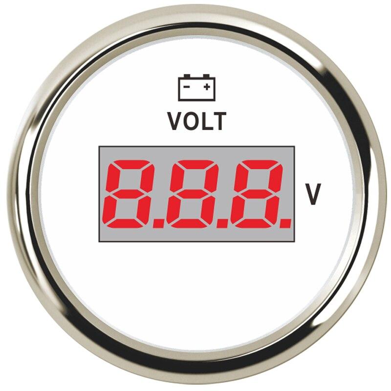 Digital Electronic Voltage Voltmeter 12V 24V Volts Gauge Red LED Display for SUV Motor Marine Car Truck Boat Motorcycle