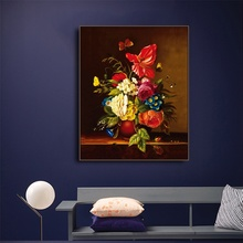 Laeacco Canvas Calligraphy Painting Red Blooming Flowers Posters and Prints Wall Artwork Picture for Living Room Home Decoration