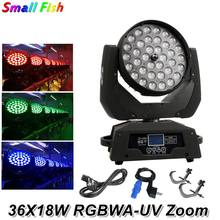 Dj Equipment LED Wash Zoom Moving Head Light 36X18W RGBWA-UV 6IN1 Touch Screen DMX 17 Chas For Dj Disco Party Bar Light Music(China)