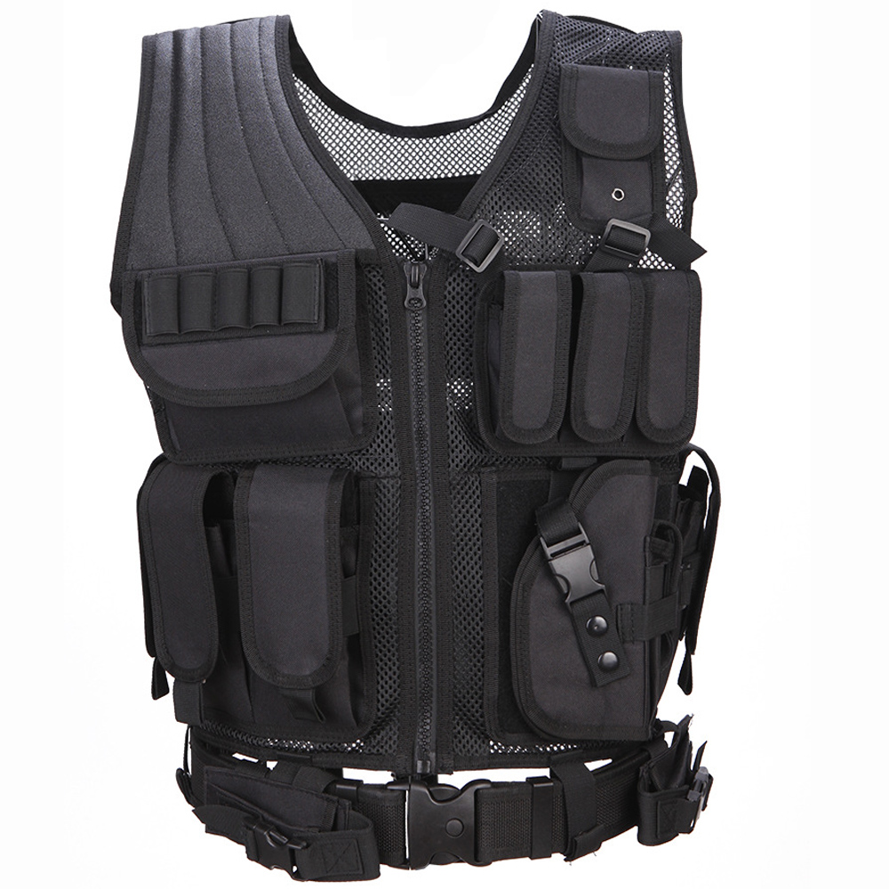 Hunting Tactical Police Vest Military Army Body Armor Swat Combat Painball Molle Airsoft Nylon For Men Mesh Black Color