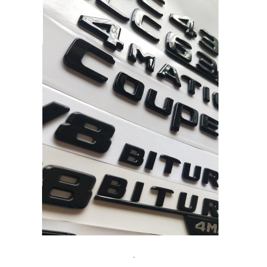 Gloss Black Flat BITURBO 4 MATIC Trunk Embl Badge Sticker for Mercedes Benz C63