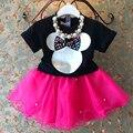Caliente de la nueva llegada 2017 Ropa de Bebé Niñas Establece niñas de dibujos animados lindo camisetas + falda niños 2 unids ropa niños del juego dress