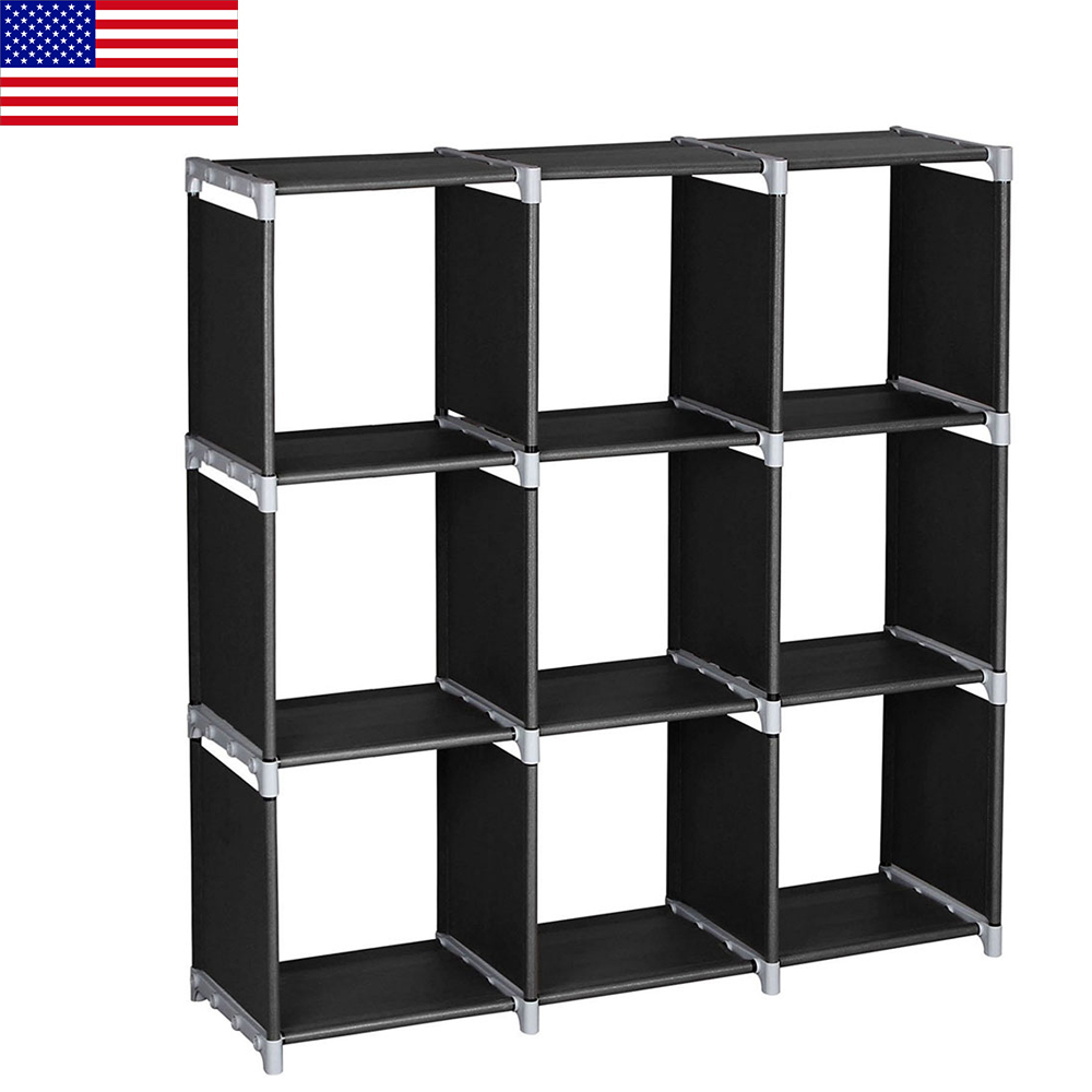 3-Layer 9-Grid Simple Bookshelf Easy To Install Multifunctional Books Sundries Storage Cabinet Home Organizer Shelf Bookcase