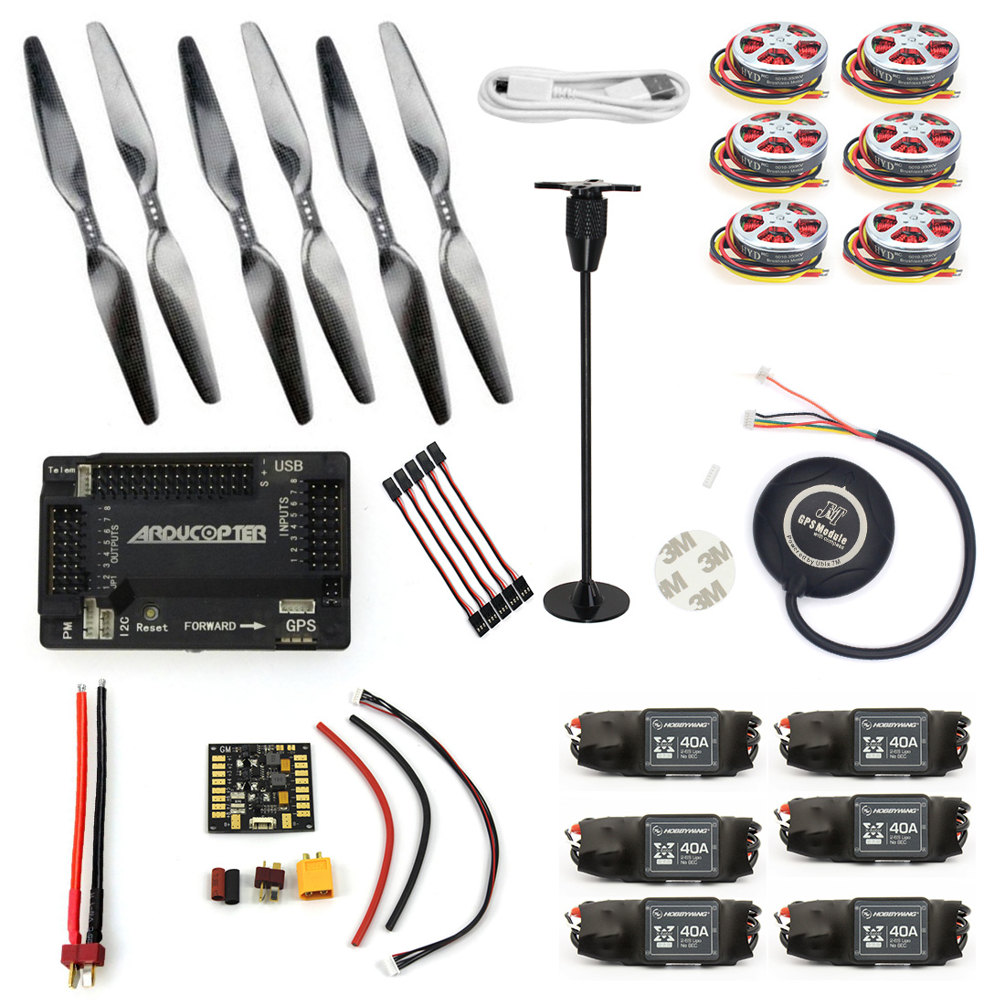 JMT RC HexaCopter Aircraft ARF Electronic:GPS APM2.8 Flight Control 350KV Brushless Motor FMT40A ESC F05423-I f2s flight control with m8n gps t plug xt60 galvanometer for fpv rc fixed wing aircraft