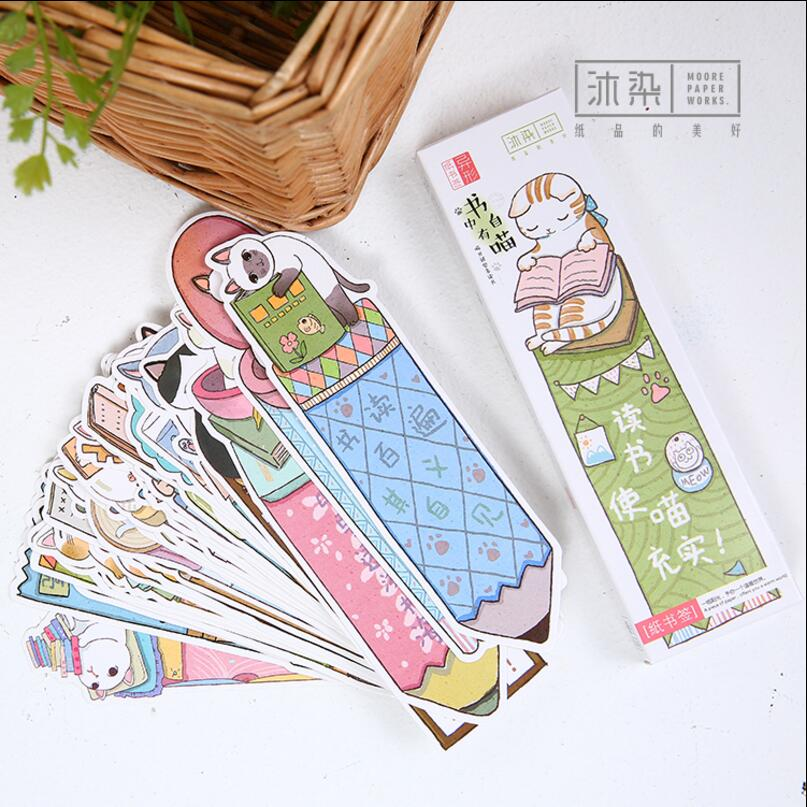 8 pack/Lot Cat paper bookmark ice cream paper page holder Memo card Stationery office School supplies separador de libros 7033