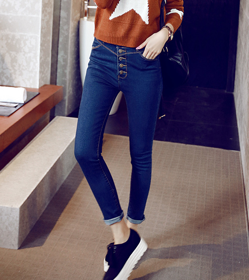 2017 spring new retro four button high waist skinny jeans thin Slim pants feet pants denim bule pants women fashion jeans Z908 2017 new jeans women spring pants high waist thin slim elastic waist pencil pants fashion denim trousers 3 color plus size