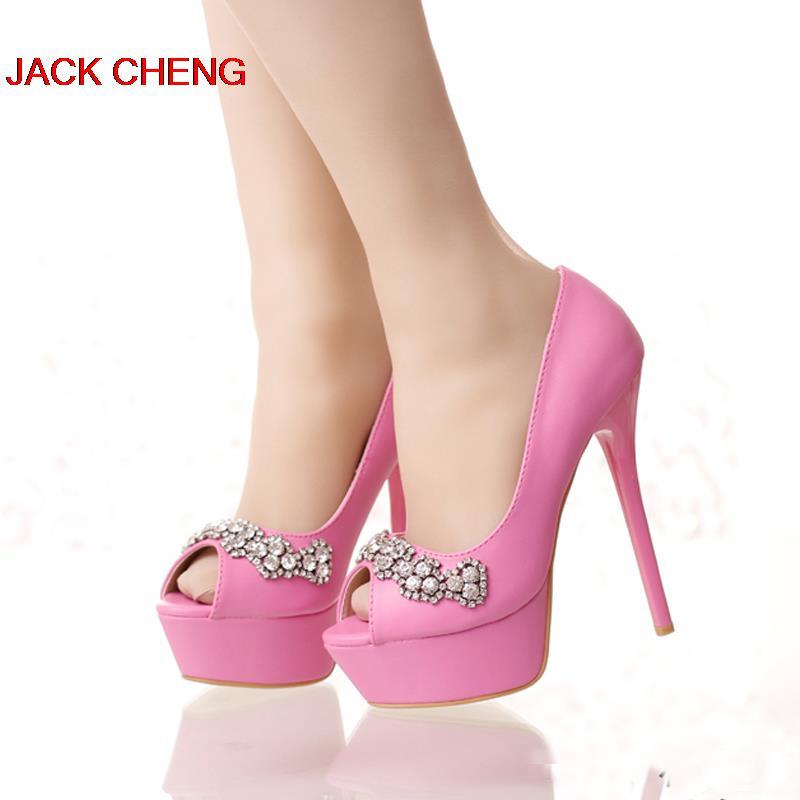 Bonito Blanco Rojo Rosa Color Peep Toe Zapatos de Plataforma de ...