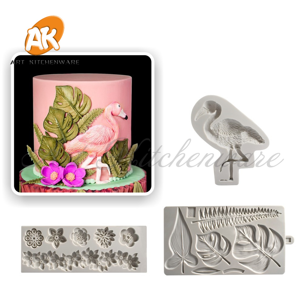 Flamingos and Leaf Cake Molds  Flower Fondant Tools Silicone Sugarcraft Mold Bakeware Cupcake Tool Chocolate