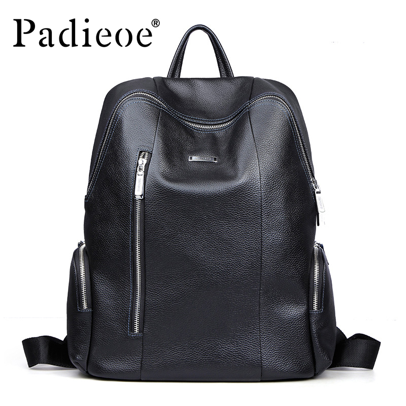 Padieoe fashion brand genuine leather backpack bag cow leather casual European leather men backpacks dhl free shipping brand clothing cow leather long jackets men s genuine leather black casual jacket fashion classics