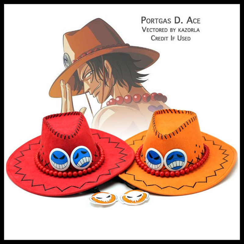 5 Colors Japan Anime One Piece Ace Hat Cosplay Cowboy Punk Hats Cos Vintage Cap Costumes Prop Drop Shipping
