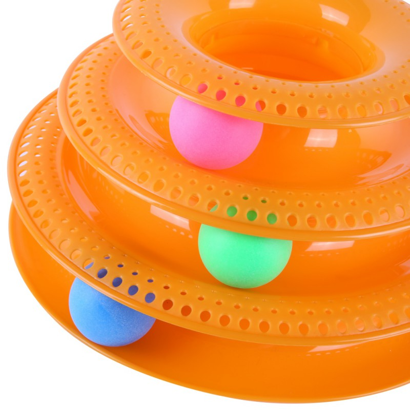 New Three Levels Tower Tracks Disc Cat Pet Toy Intelligence Amusement Rides Shelf dog cat toy Training Amusement Trilaminar ball