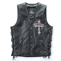 Free shipping,Brand new style 100% Genuine leather man slim vest.motorbiker men's vests,skull cow leather jacket Embroidery