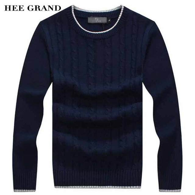 97a31a7e1a HEE GRAND Men Fashion Sweater O-Neck Thin Wool Whole Cotton Material Autumn Winter  Warm Pullovers Plus Size M-3XL MZM506