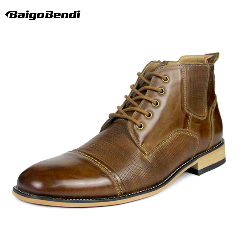 2018 Winter Men Ankle Boots Genuine Leather Lace Up Two Tone Round Toe Boots Man Retro Shoes Plus Size 11 12 13