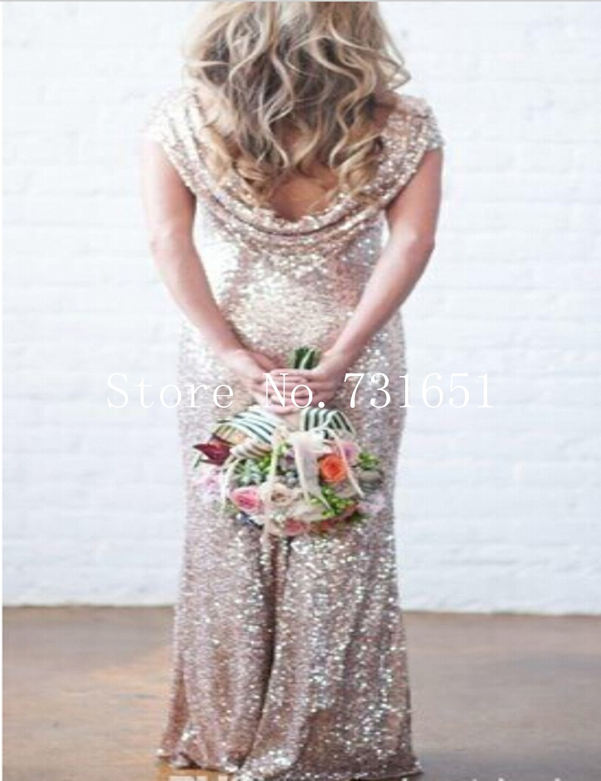2016 Champagne Rose Gold Sequins Bridesmaid Dresses With Short Sleeve Scoop  Neck Low Cowl Back Champagne Gold Bridesmaid Dresses-in Bridesmaid Dresses  from ... 78599a019359